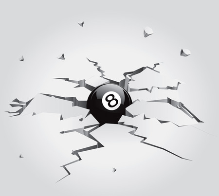 eight ball: Ball in Cracked Stone Set 3 Vector Drawing Illustration