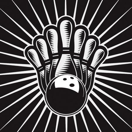 quille de bowling: El�ment Bowling conception de boule Set 4 de dessin vectoriel Illustration