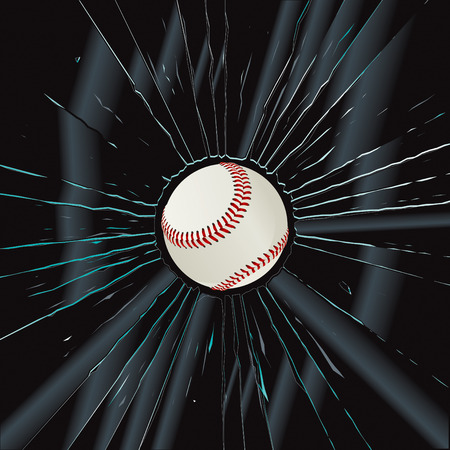 broken window: Broken Glass 2 Baseball  Illustration