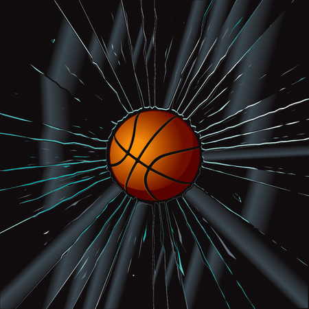 shattered glass: Broken Glass 2 Basketball  Illustration