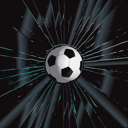 shattered glass: Broken Glass 2 Soccer Ball Vector Drawing