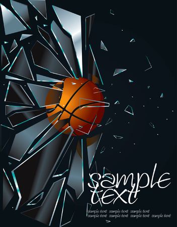 basketball shot: Broken Glass Basketball Drawing