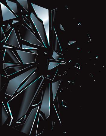 glass broken: Roto el vidrio plano negro
