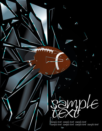 broken window: Broken Glass American Football Ball Drawing