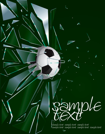broken window: Broken Glass Soccer Ball 2 Drawing Illustration