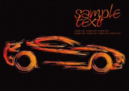 dream car: Silueta de coche establece de dibujo