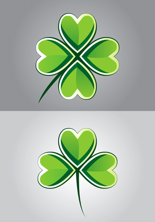 four objects: Drawing of three and four leaf clover Illustration