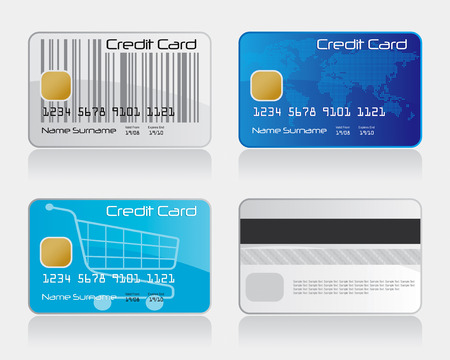 Credit Card Set Drawing Illustration