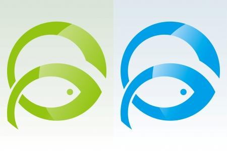 ordinateur logo: Dessin de puissance de poissons Illustration