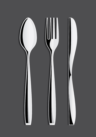 Fork, Spoon and Knife Drawinng Vector