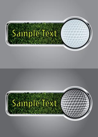 golfing: Golf ball on a green grass banner set
