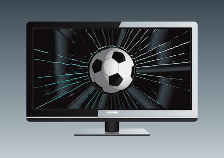 LCD TV Broken Ball Drawing Vector