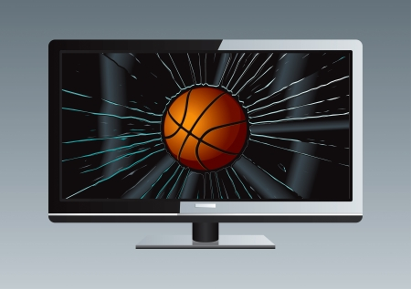 LCD TV Broken Ball Drawing Illustration