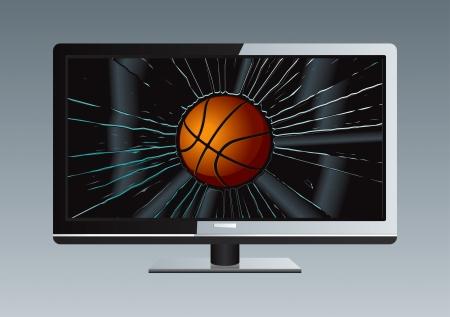 in disrepair: TV LCD rotto disegno Ball Vettoriali