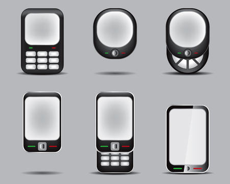 mobil: Mobil Phone Set Drawing Illustration