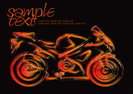 motor sport: Motorcycle Silhouette Set Drawing