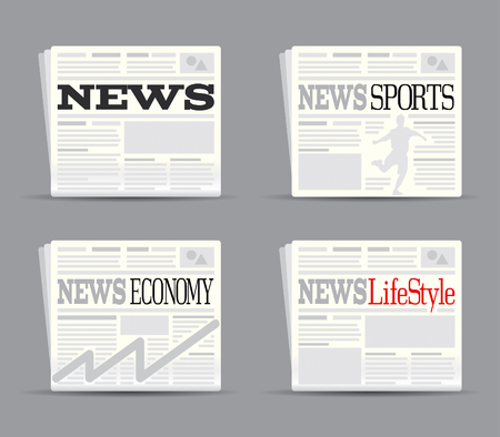 Newspaper Set Drawing Vector