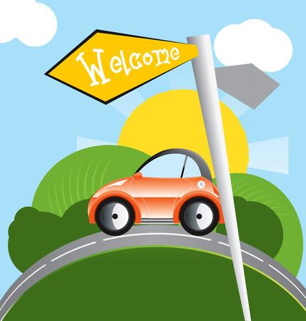 mode of transportation: un bel viaggio in auto Vettoriali