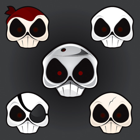 Skull set drawing Vector