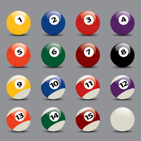 game of pool: Colorful Snooker Ball Set Drawing