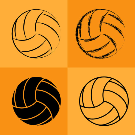 pelota de voley: Bal�n de voleibol establece de dibujo Vectores