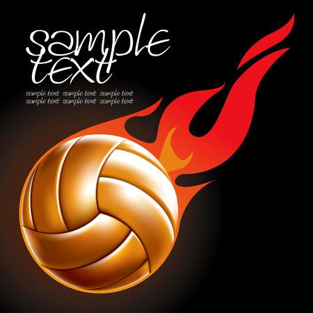 pelota de voley: Bal�n de voleibol establece 4 dibujo de bola de fuego Vectores