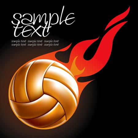 Volleyball Ball Set 4 Fire Ball Drawing Vector