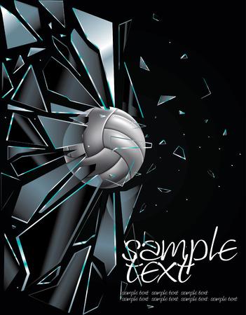 voleibol: Bal�n de voleibol establece 5 dibujo de vidrio roto