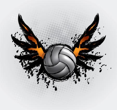 pelota de voley: Bal�n de voleibol establece 6 dibujo de elemento de dise�o Vectores