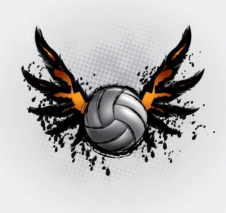 kicking: Volleyball Ball Set 6 Design Element Drawing