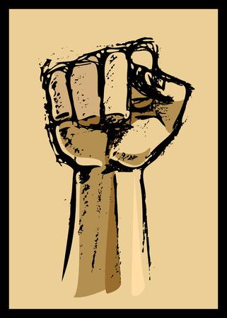 revolucionario: Dibujo de un s�mbolo �nico pu�o de cambio