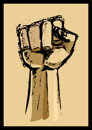grasp: Drawing of a single fist symbol of change Illustration