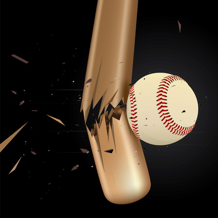 impact: Baseball ball drawing of a broken baseball bat