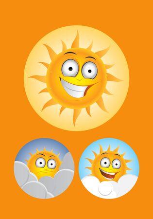 Cute orange sun on the ground drawings Stock Vector - 9143824