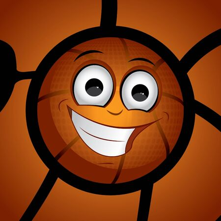 Orange basketball on the floor cute character design Vector