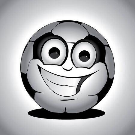 Gray cute soccer ball on the floor drawing Vector