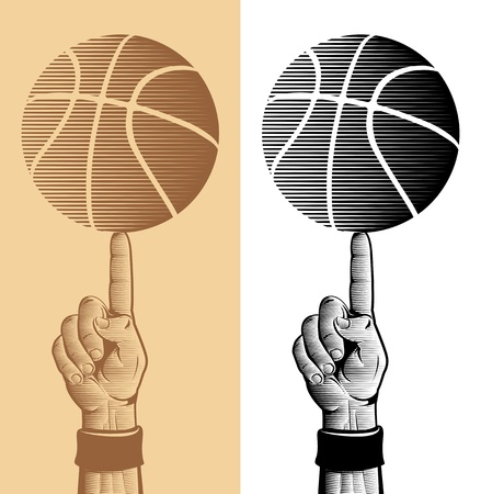scratchboard: Basketball Ball On The Finger Vector Drawing 2