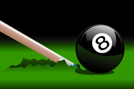 cue ball: Accident during the drawing of playing billiards Illustration