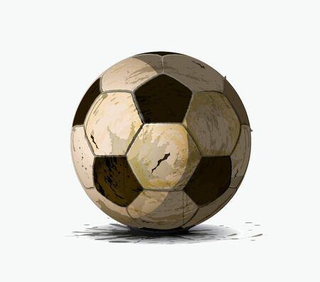 pelota de futbol: Viejo bal�n de f�tbol en un fondo blanco Vectores