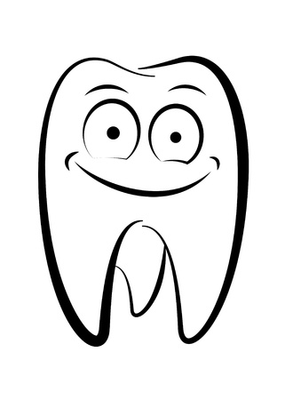 enamel: Dental character drawing on a white background Illustration