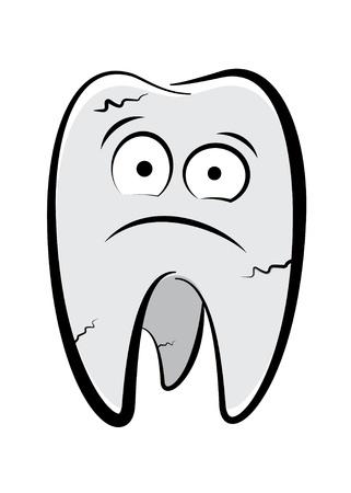 dolor de muelas: Car�cter dental dibujo sobre un fondo blanco Vectores