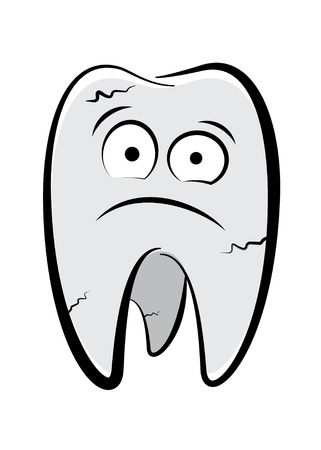 rotten teeth: Dental character drawing on a white background Illustration