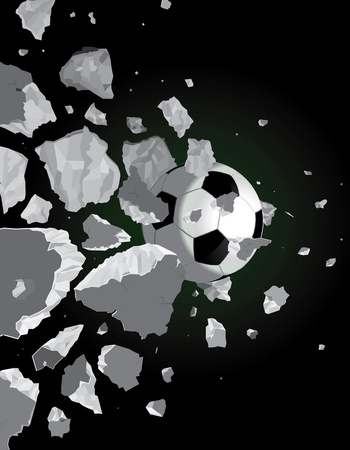 Crushed the ball over the wall drawing of a black background Vector