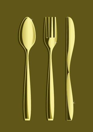 Drawing knife spoon and fork on a yellow field Vector