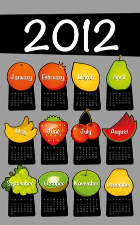 Gray 2012 calendar drawing drawn on the floor of fruit Stock Vector - 10566171