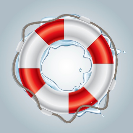 rescue signs: Color drawing of the floor above the lifebuoy Illustration