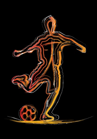 On a black background with the silhouette of soccer player Vector