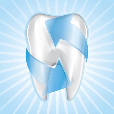 caries dental: Protecci�n de Blue tooth, dibujando en el piso Vectores