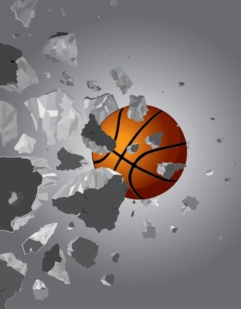 Crush the ball over the wall drawing of a black background Vector