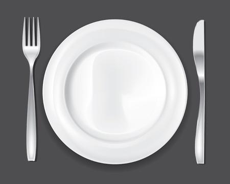 piastra acciaio: Cena piatto vuoto, disegnare il set forchetta e coltello Vettoriali